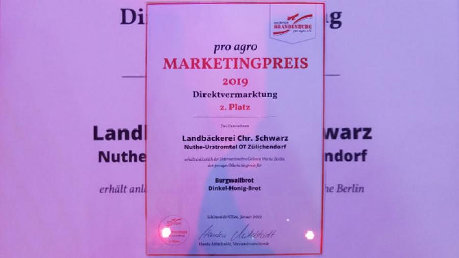 BURGWALLBROT erhält den MARKETINGPREIS 2019!!!